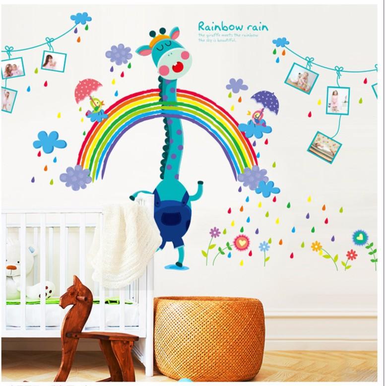 大型手繪長頸鹿相框壁貼照片相框壁貼兒童房幼兒園客廳臥室身高貼牆貼紙太空宇宙火箭貼畫