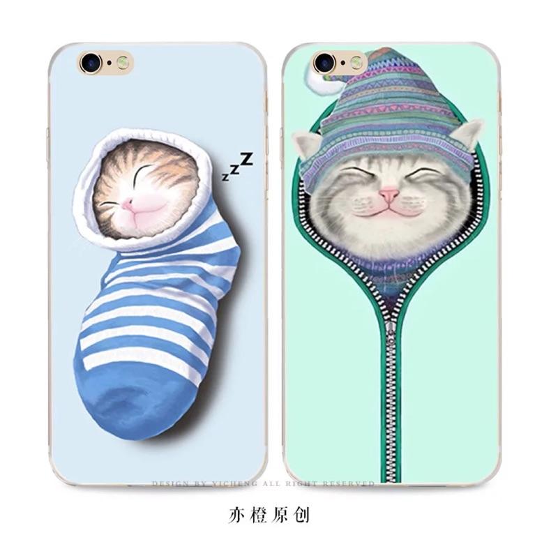 樂殼可愛襪子拉鍊貓蘋果5SE iPhone 6S 6plus 超薄軟殼硅膠套原 E 起購