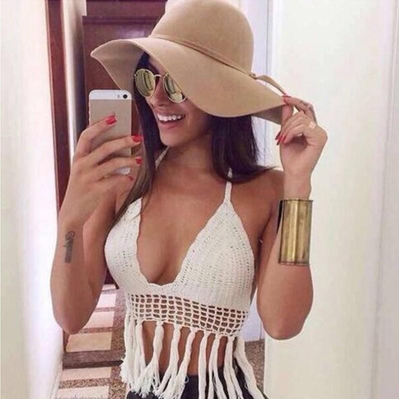 女裝 露臍上衣背心吊帶編織鉤針 掛脖系帶內襯罩杯流蘇裝飾性感 沙灘比基尼