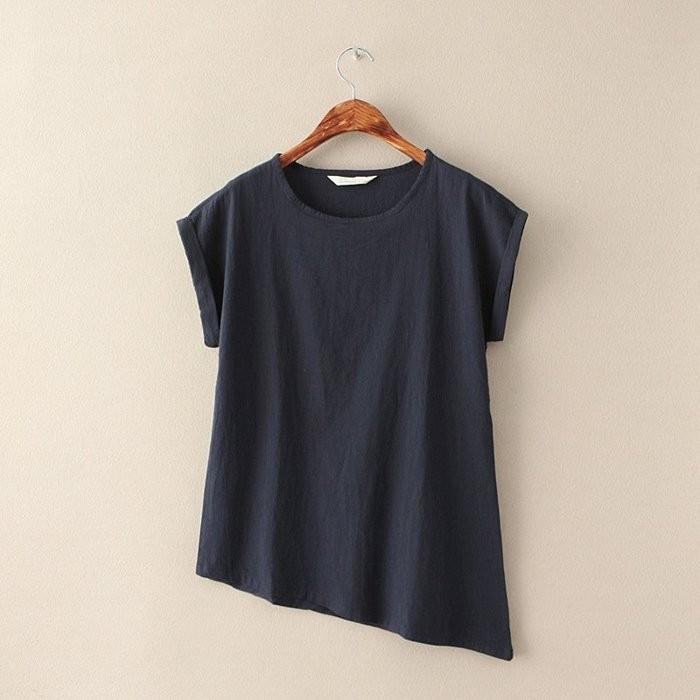 文藝范棉麻圓領短袖T 恤不規則女裝上衣亞麻斜角下擺