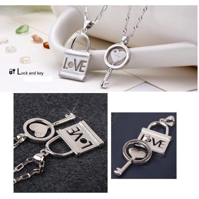 ~送項鍊 ~鑰匙鎖925 銀吊墜一對男女款 學生情侶項鏈日韓七夕 首飾生日情人節送禮