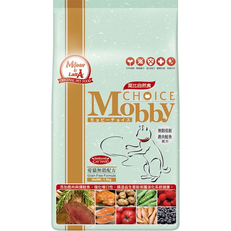 Mobby 莫比~鹿肉鮭魚~愛貓無穀配方1 5 公斤 包裝 3 公斤幼貓成貓化毛