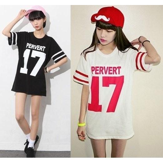 BF 原宿風棒球服17 號印花寬鬆短袖女T 恤