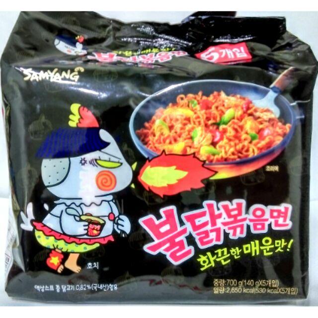 韓國內銷SAMYANG 三養火辣雞肉風味鐵板乾燒麵辣雞炒麵泡麵拉麵140g 5 入裝 包裝