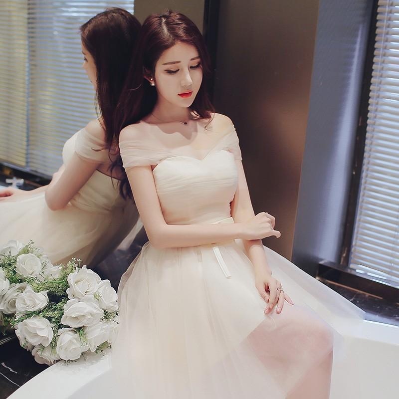 伴娘團禮服2016 韓式顯瘦伴娘服香檳色短款姐妹裙修身小禮服秋