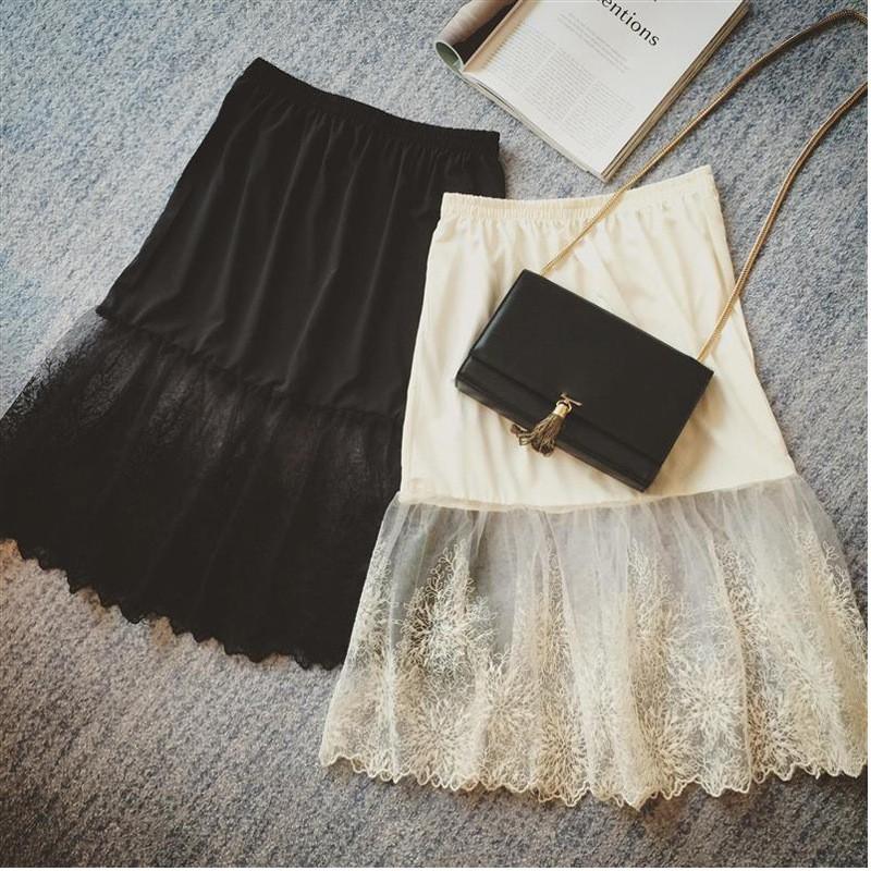 春夏女透視蕾絲半身裙打底裙中長款拼接刺繡內搭裙百搭內襯裙