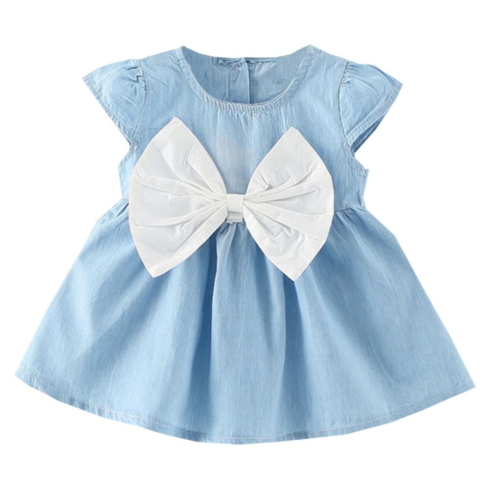 女童夢幻洋裝牛仔布大蝴蝶結小寶寶連身裙6 個月3 歲洋裝