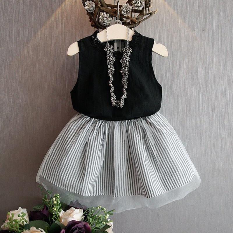 ~女童春裝0227 ~ 無袖T 恤條紋網紗短裙套裝