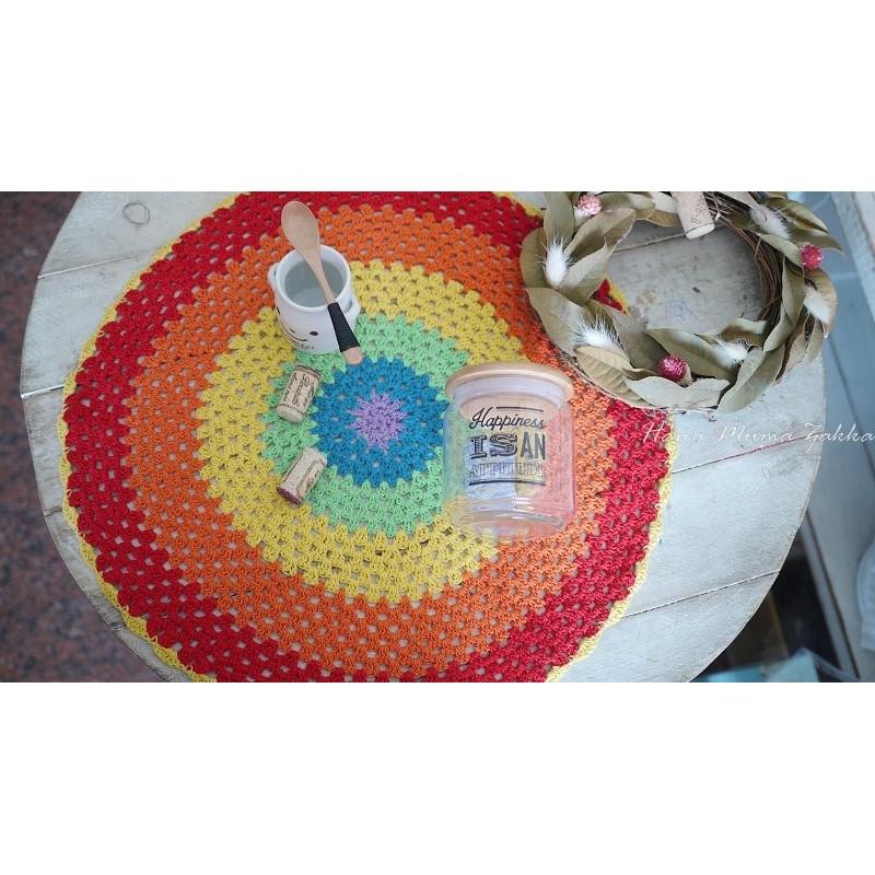 彩色蕾絲巾圓形桌巾桌墊裝飾野餐露營鄉村風zakka 編織毛線紅色花木馬 雜貨t t