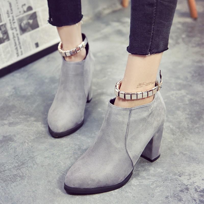 上市丶短靴短靴女春秋單靴2016 女鞋百搭 女士高跟靴拉鏈尖頭粗跟 女靴