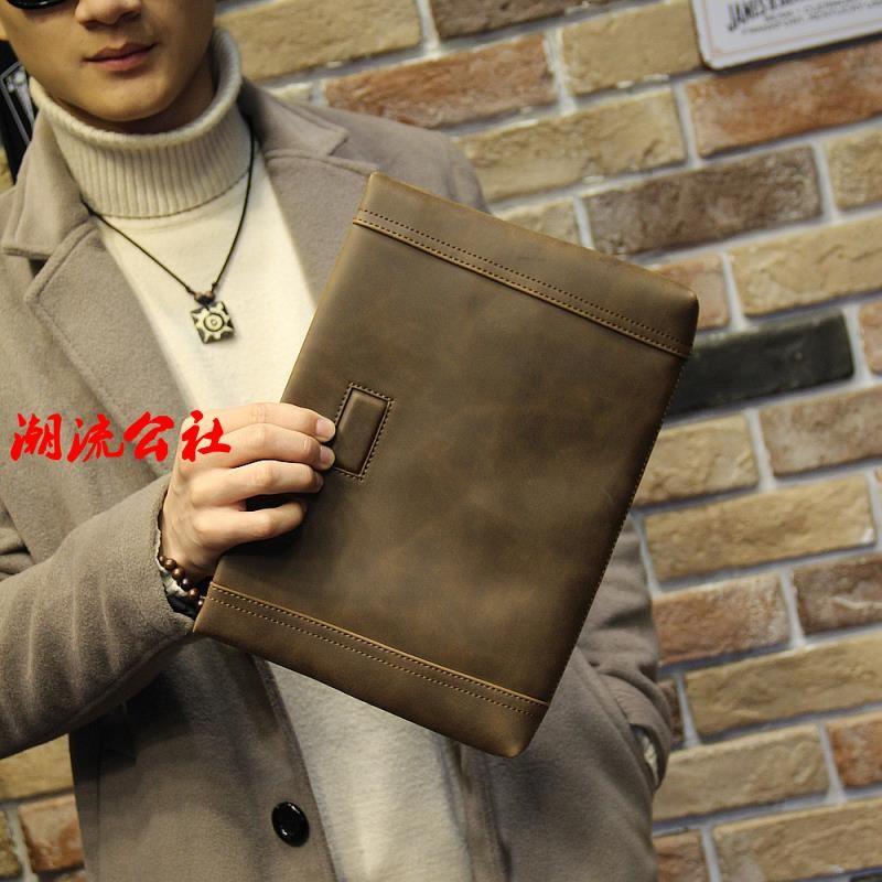 手包男士手抓包手拿包大容量多 軟皮質男包信封包10 寸平板電腦