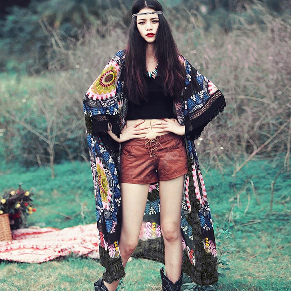 女裝民族風雪紡開衫印花 中袖流蘇中長款防曬衫 女性雪紡和服