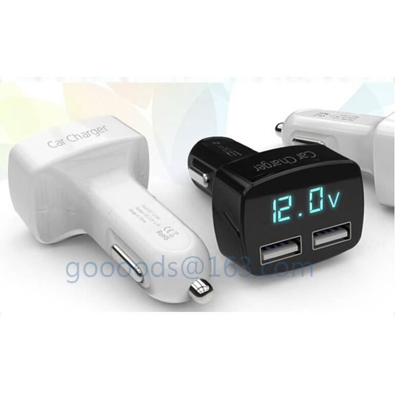 ~大 ~四合一雙USB 車充3 1A 電壓電流溫度顯示電壓表充 點菸器電壓錶4 合1 iP