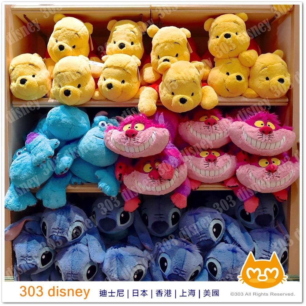 迪士尼樂園限定維尼小熊史迪奇笑笑貓趴睡抱枕靠墊~303disney 香港 ~