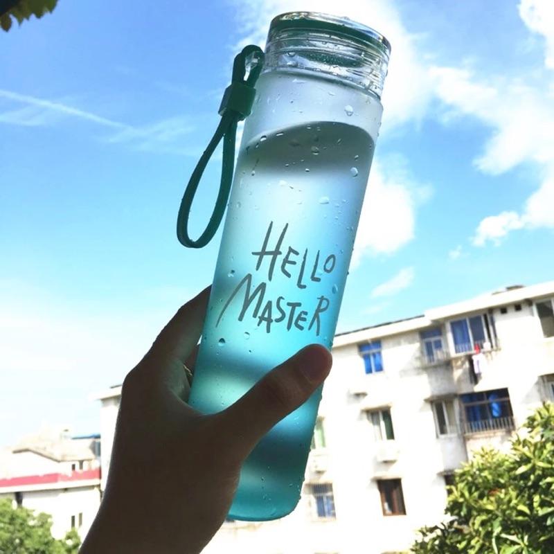 耐熱漸變色玻璃杯便攜女士水杯隨手杯 檸檬磨砂韓國杯子水瓶