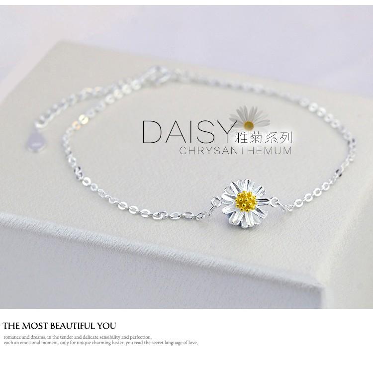 925 純銀素銀花朵清新夏日小雛菊太陽花向日葵手鏈