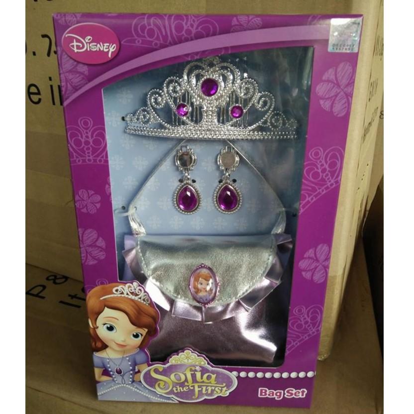 小公主蘇菲亞美麗手包4 件組有皇冠包包耳環一對 超