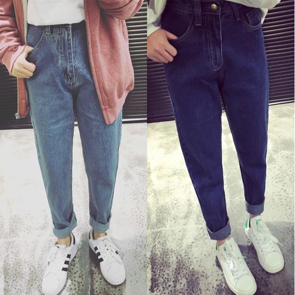 春秋 哈倫牛仔褲寬鬆bf 淺色潮學生複古高腰顯瘦九分小腳垮褲寬褲