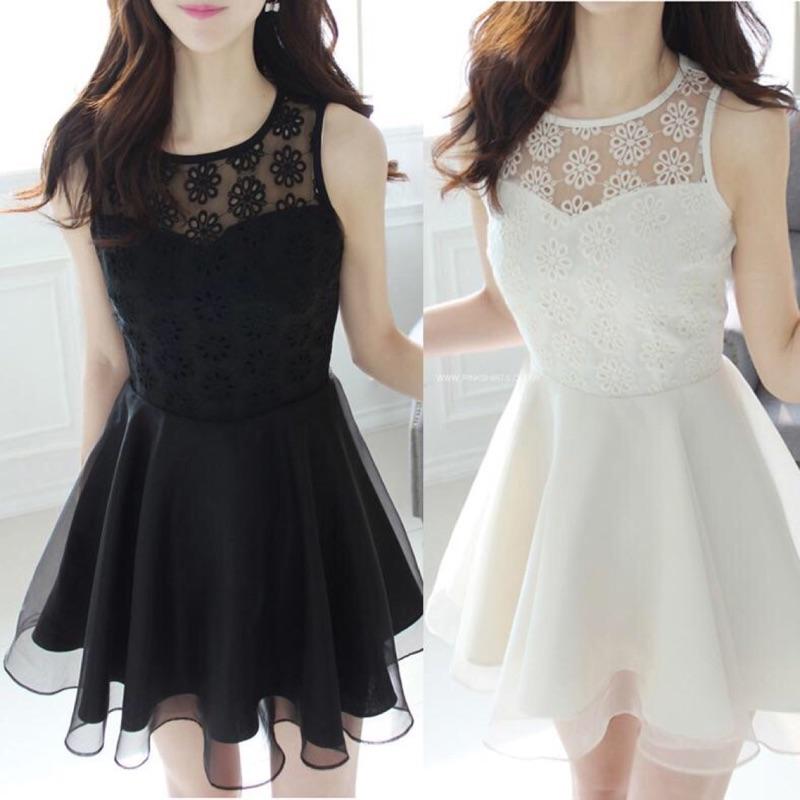 黑色白色斷碼 249  出貨RY 024 蕾絲繡花雪紡背心裙歐根紗洋裝