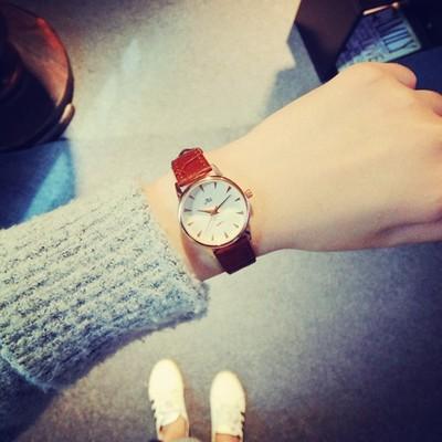 韓國潮流 女士皮帶手錶圓錶盤簡約風咖啡色女錶復古森系學生錶541203804583