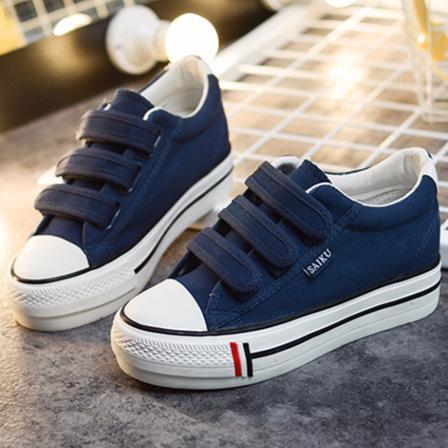 ~K319 藍35 40 ~ 魔術貼魔鬼氈低筒低統內增高帆布鞋女鞋厚底鬆糕休閒鞋