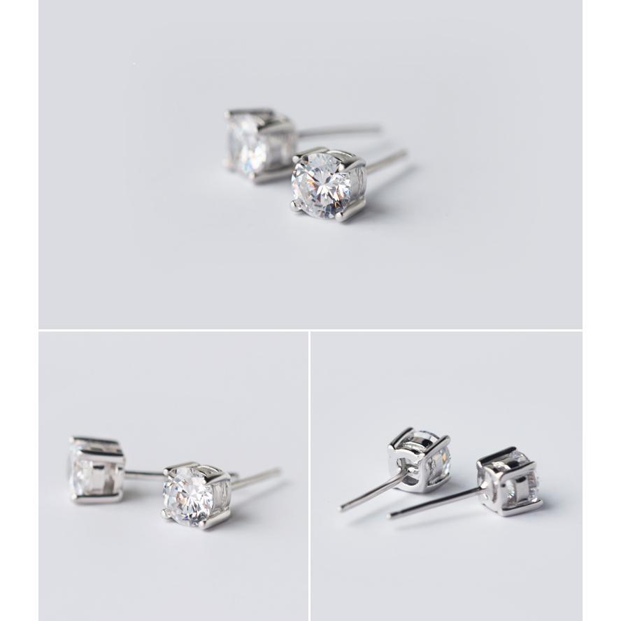 皇后銀飾方形四爪鑲鑽耳環簡約 耳針不過敏925 純銀E54