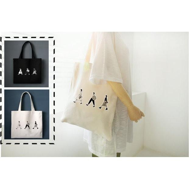 黑白雙色日系塗鴉帆布包內部拉鍊款手拿包側背包 袋~BG06 ~