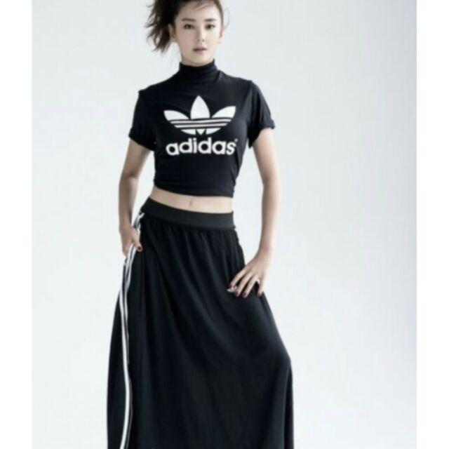 Adidas Originals Berlin Logo 垂墜式黑白長裙Y3 范冰冰