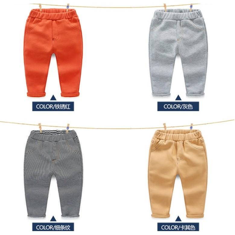 E1294 韓系男寶寶純色長褲女童男童兒童加絨加厚休閒褲長褲MAMA 咪呀 衣鋪