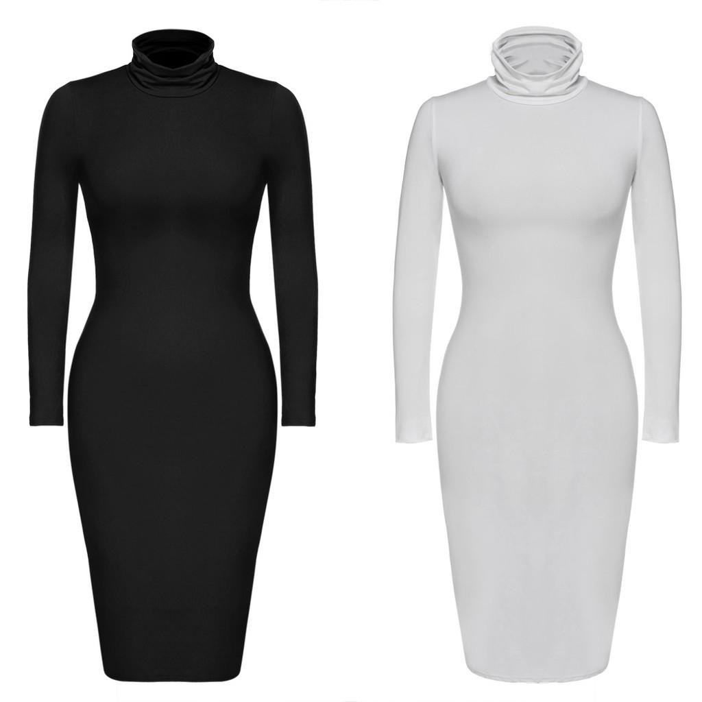 Zeagoo 女性性感高領長袖貼身彈性素色連身裙