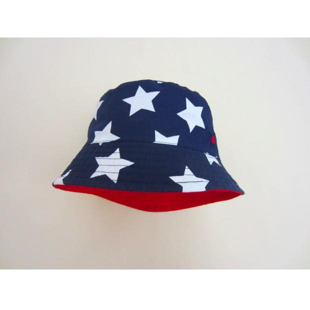 Momo House 出口歐洲外貿原單藏青白星星紅底兒童漁夫帽兒童太陽帽