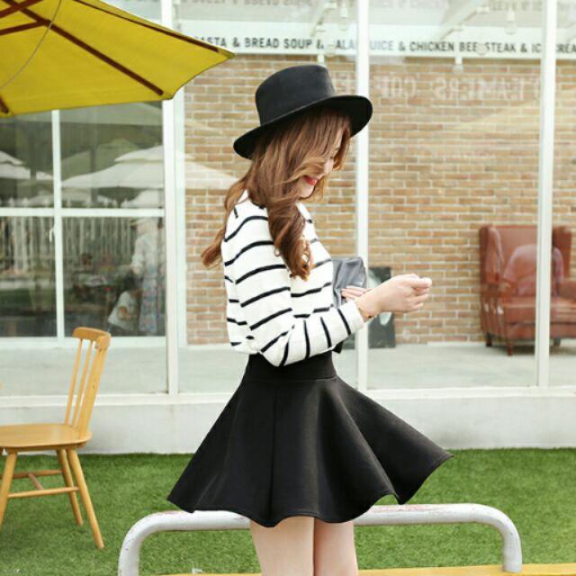 黑色學生學院風a 字裙高腰百褶裙半身裙短裙 款女裙子