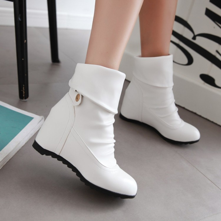 香舍麗榭n 內增高短靴春秋單靴坡跟馬丁靴女高跟女靴子圓頭切爾西靴 女鞋