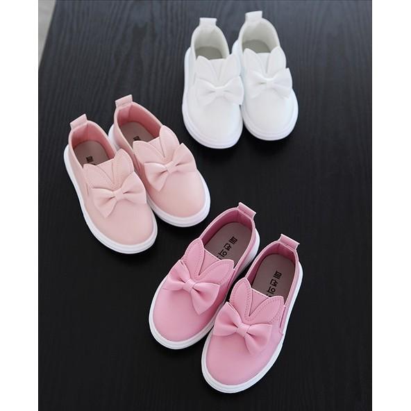 桃子 雜貨店~白色女童 中大童 兔子休閒鞋防滑板鞋小白鞋