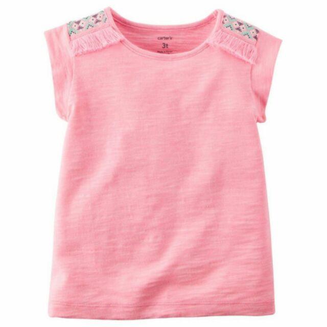 賠售Carter s 卡特美國正品 女童女寶流蘇亮粉色無袖上衣T 恤 2T