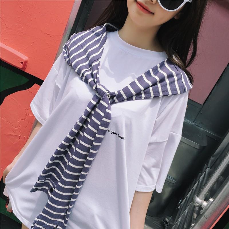 韓妞 ❤️正韓學院風休閒上衣圓領字母膠印T 恤女短袖❤️連帽披肩兩件套