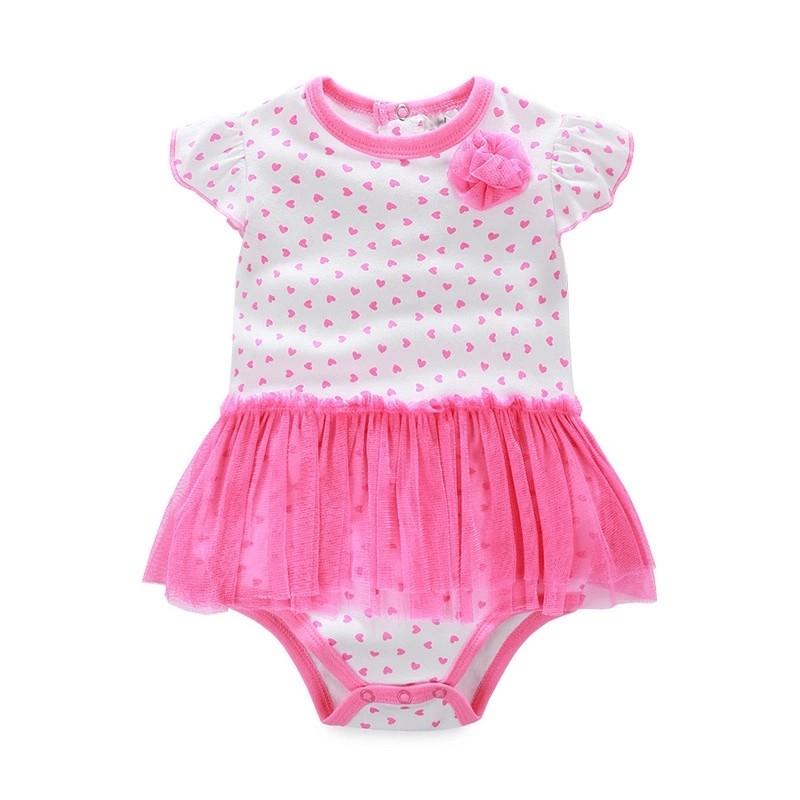 女Baby 女童短袖衣包屁衣洋裝可愛點點純棉連身衣外貿原單