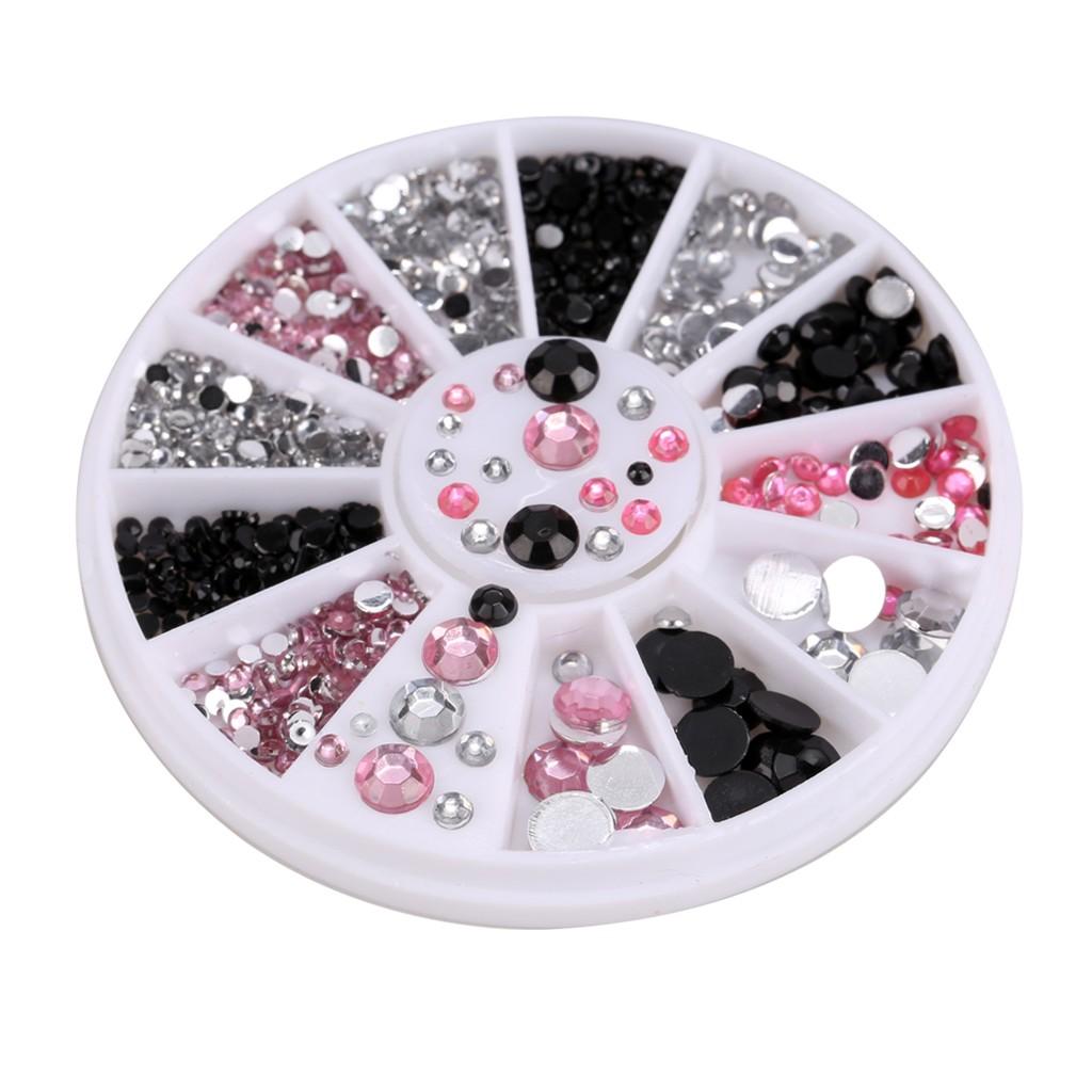 12 格轉盤水鑽美甲飾品指甲貼鑽美甲用品工具套裝混裝