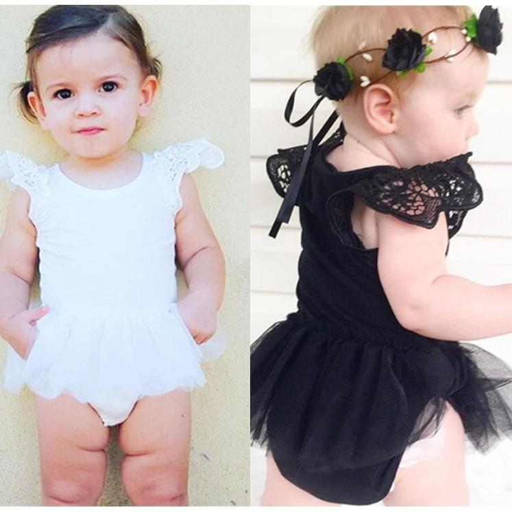 KD22 女寶寶女童純棉紗裙澎澎裙蕾絲袖口包屁衣黑白二色