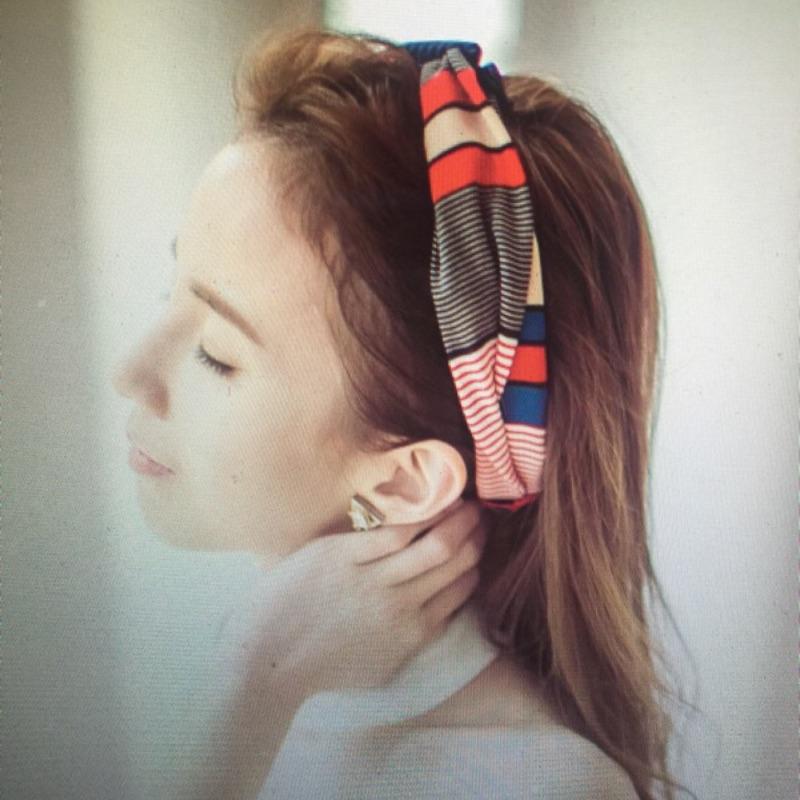 可 )贈品)韓條紋控髮飾鬆緊髮帶紅藍白相間配色 款領巾puree