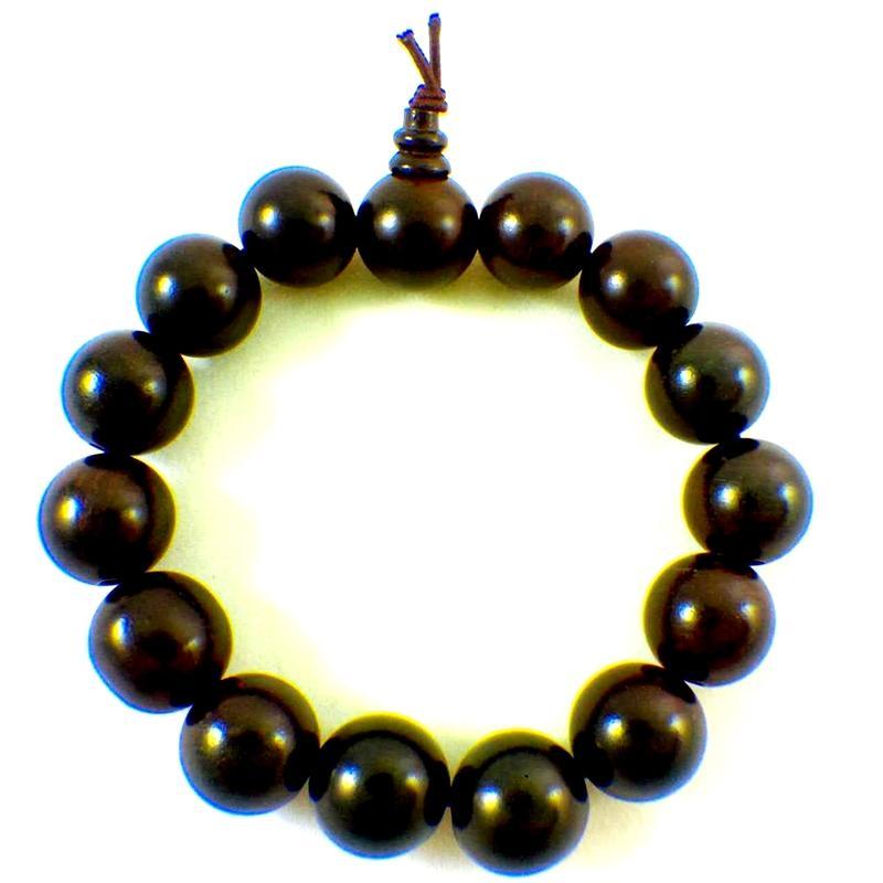 ~歡喜地佛教文物~14mm 黑檀木手珠佛珠手鏈