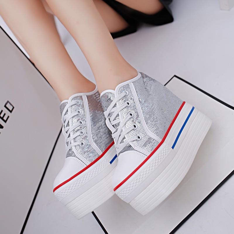 春秋 厚底松糕鞋12cm 超高跟內增高 女鞋亮片坡跟系帶單鞋女