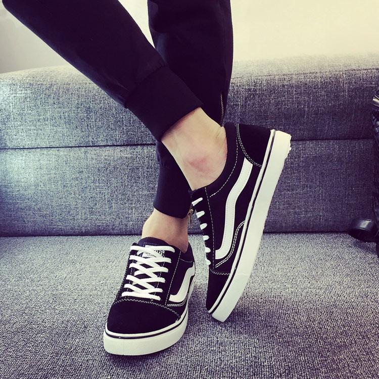 ~天天下殺~ 男鞋帆布鞋平跟系帶 鞋低幫硫化鞋拼色耐磨滑板鞋
