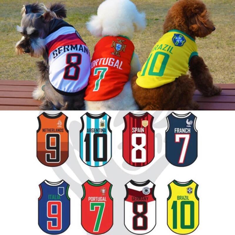 ۞芙芙遊樂園۞狗狗世界盃足球背心 網眼背心寵物衣服春夏款泰迪大中小型狗狗服飾