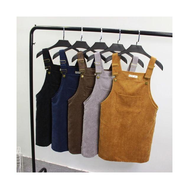 學院風複古純色大口袋 百搭燈芯絨掛扣背帶裙連衣裙吊帶裙