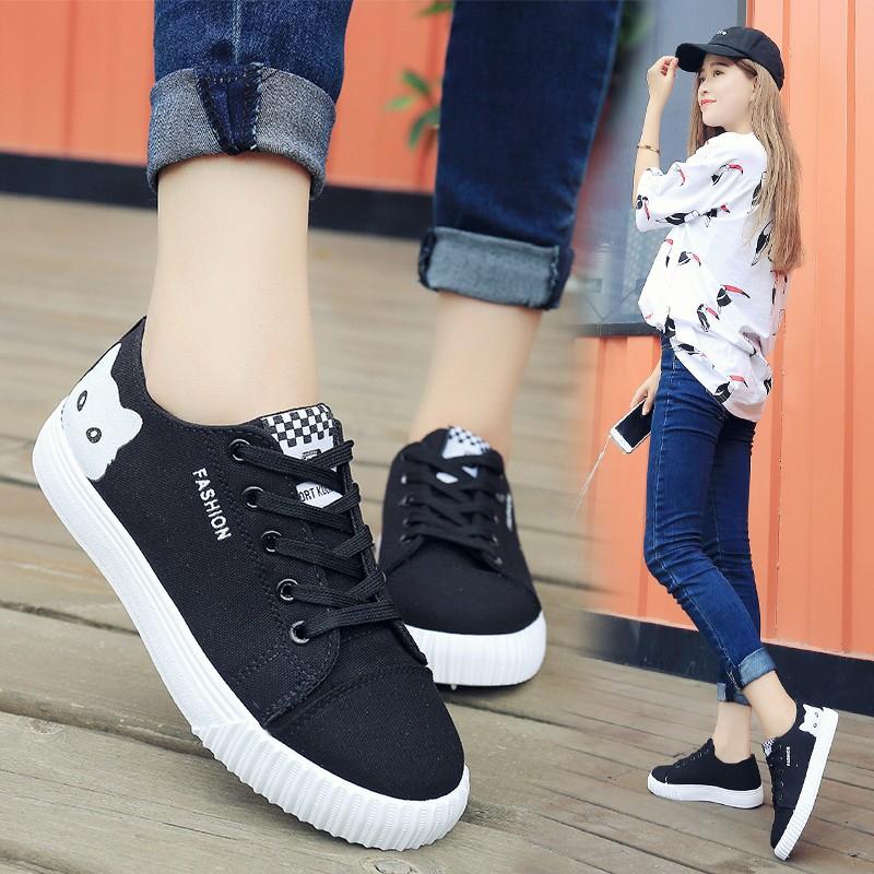 平底帆布鞋女中學生系帶布鞋 少女 鞋平跟百搭板鞋球鞋