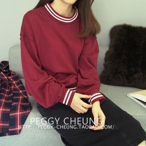 小熊日系~版純色圓領條紋百搭上衣內加絨寬鬆大學生T 長袖上衣共2 色