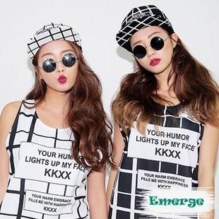 韓國 超 款黑白格子格紋精緻繡字 棒球帽嘻哈帽平沿帽子K365