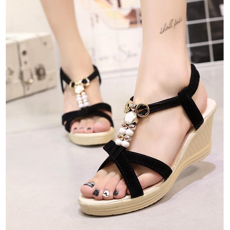 楔形涼鞋女生串珠楔形涼鞋