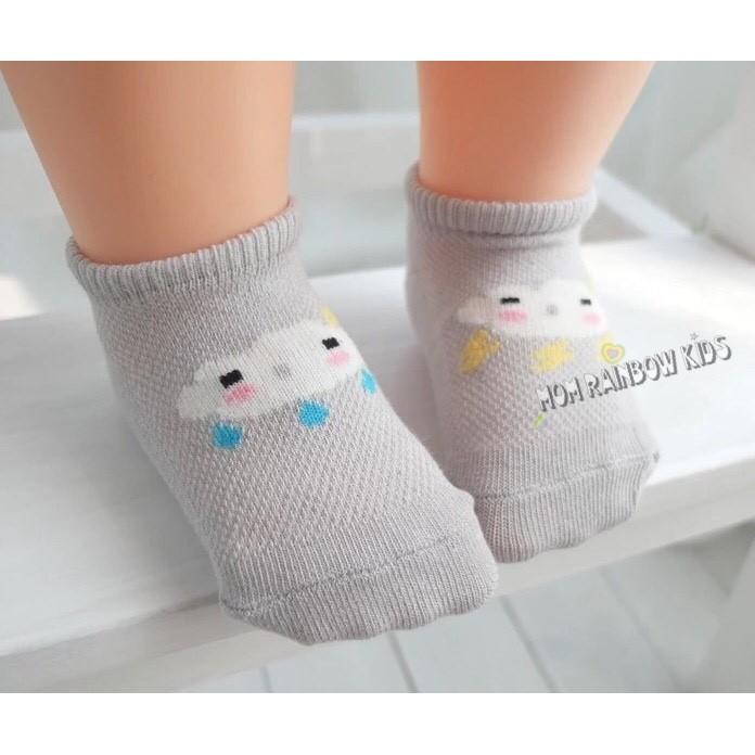 不對稱閃電 寶寶網眼薄款防滑地板襪嬰兒透氣純棉兒童短船襪子